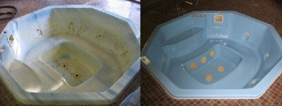 Hot Tub and Jecuzzi - Before and After - Refinishing