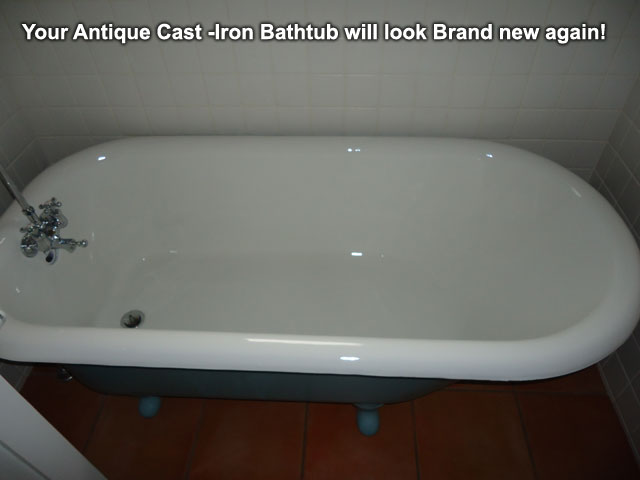 A newly refished cast-iron bathtub